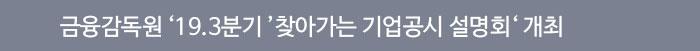 금융감독원 '19.3분기' 찾아가는 기업공시 설명회 개최